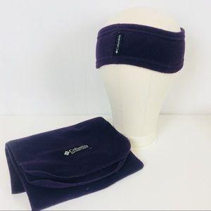 Columbia | Dark Purple Fleece Headband Scarf Set
